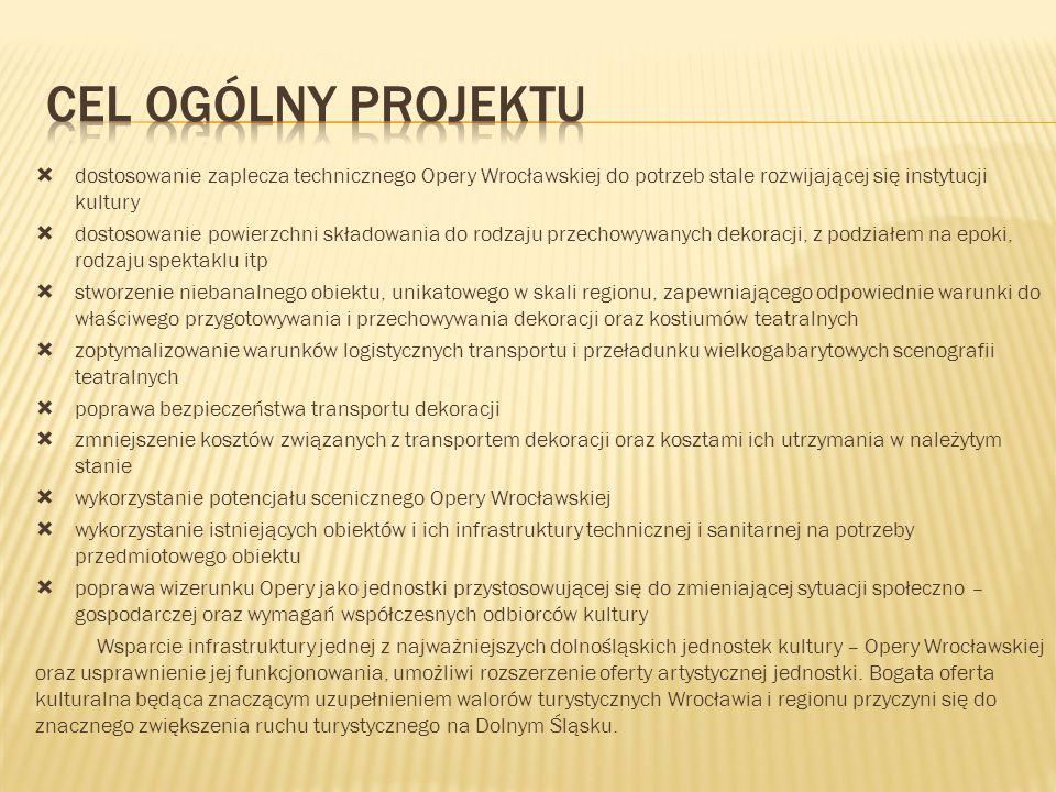 CEL OGÓLNY PROJEKTU dostosowanie zaplecza technicznego Opery Wrocławskiej do potrzeb stale rozwijającej się instytucji kultury.