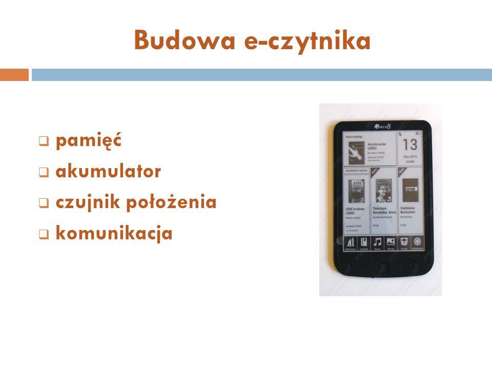 Budowa e-czytnika pamięć akumulator czujnik położenia komunikacja