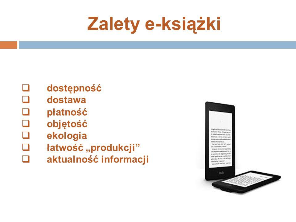 Zalety e-książki dostępność dostawa płatność objętość ekologia