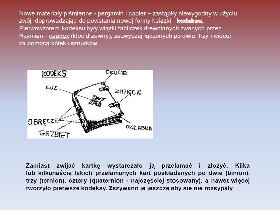 Nowe materiały piśmienne - pergamin i papier – zastąpiły niewygodny w użyciu zwój, doprowadzając do powstania nowej formy książki - kodeksu. Pierwowzorem kodeksu były wiązki tabliczek drewnianych zwanych przez Rzymian - caudex (kloc drzewny), zazwyczaj łączonych po dwie, trzy i więcej za pomocą kółek i sznurków