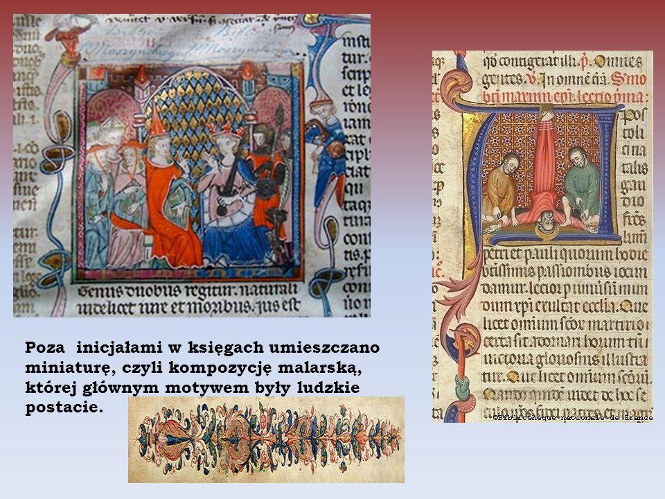 Poza inicjałami w księgach umieszczano miniaturę, czyli kompozycję malarską, której głównym motywem były ludzkie postacie.