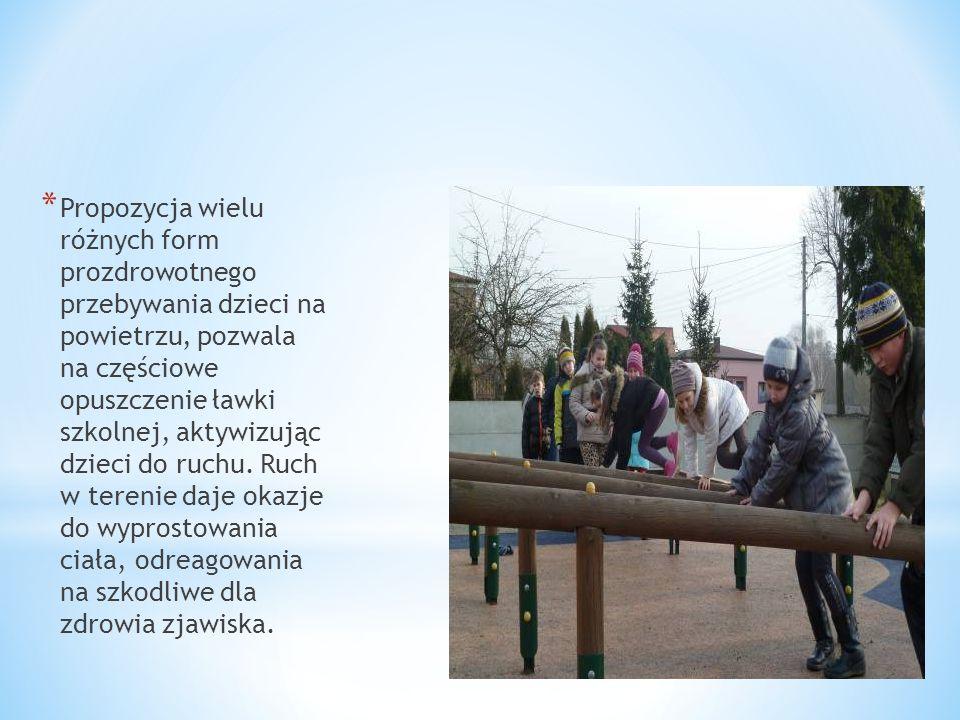 Propozycja wielu różnych form prozdrowotnego przebywania dzieci na powietrzu, pozwala na częściowe opuszczenie ławki szkolnej, aktywizując dzieci do ruchu.