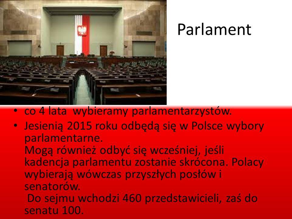 Parlament co 4 lata wybieramy parlamentarzystów.