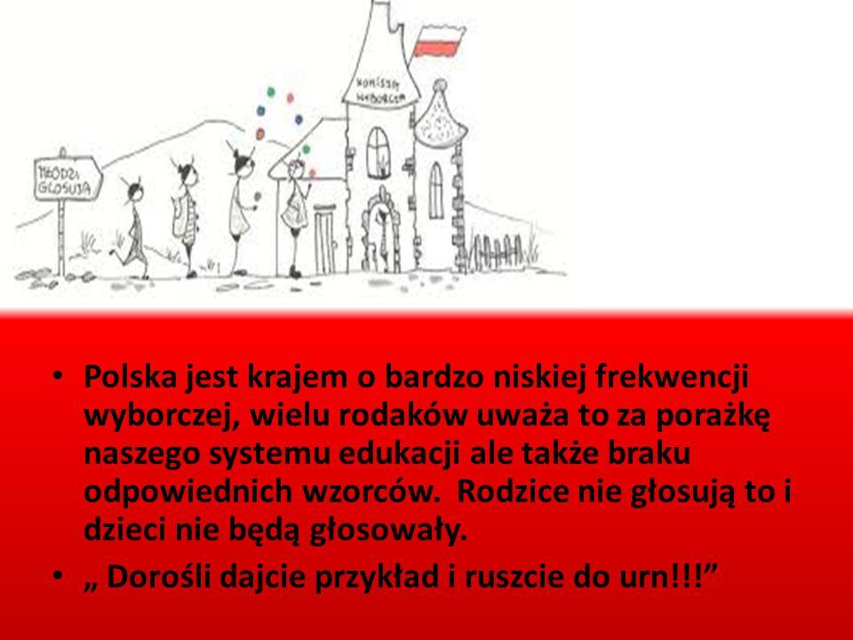Polska jest krajem o bardzo niskiej frekwencji wyborczej, wielu rodaków uważa to za porażkę naszego systemu edukacji ale także braku odpowiednich wzorców. Rodzice nie głosują to i dzieci nie będą głosowały.