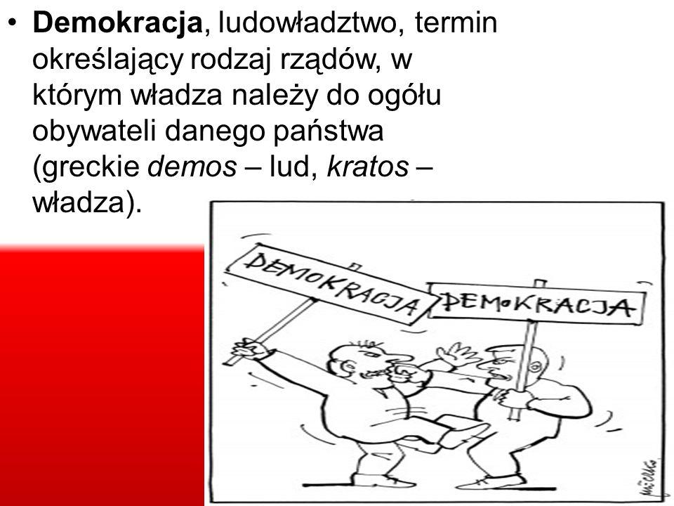 Demokracja, ludowładztwo, termin określający rodzaj rządów, w którym władza należy do ogółu obywateli danego państwa (greckie demos – lud, kratos – władza).