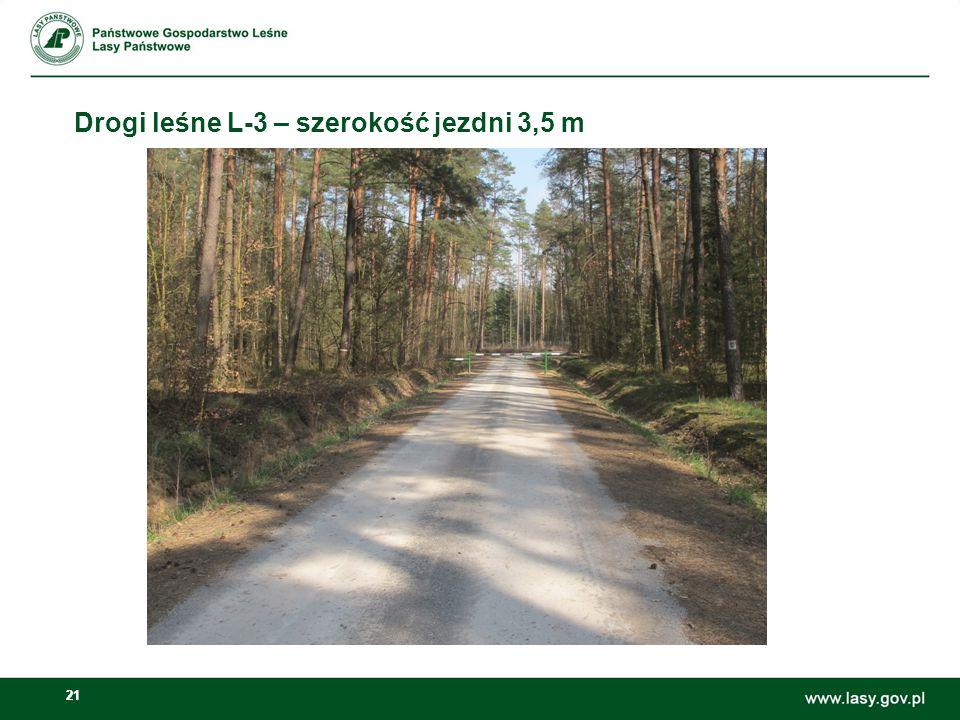 Drogi leśne L-3 – szerokość jezdni 3,5 m