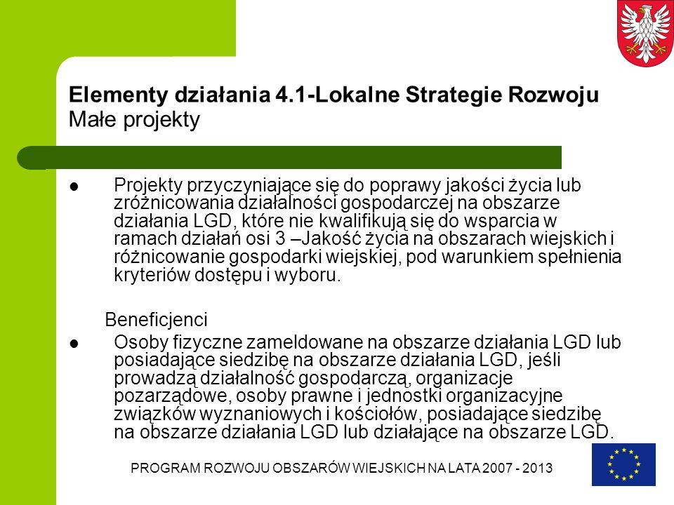 Elementy działania 4.1-Lokalne Strategie Rozwoju Małe projekty