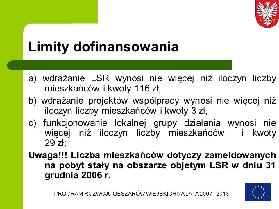 Limity dofinansowania
