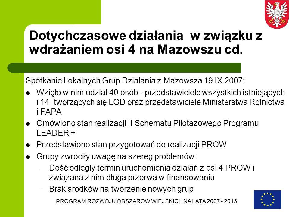 Dotychczasowe działania w związku z wdrażaniem osi 4 na Mazowszu cd.