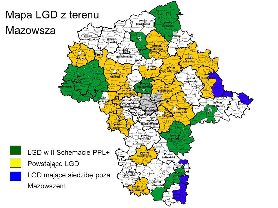 Mapa LGD z terenu Mazowsza LGD w II Schemacie PPL+ Powstające LGD
