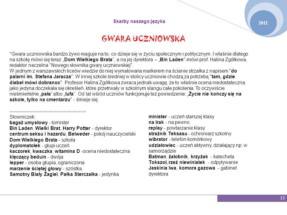 GWARA UCZNIOWSKA Skarby naszego języka 2011