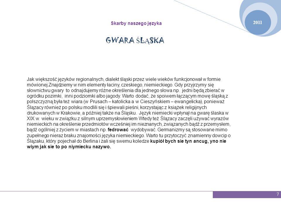 GWARA ŚLĄSKA 2011 Skarby naszego języka