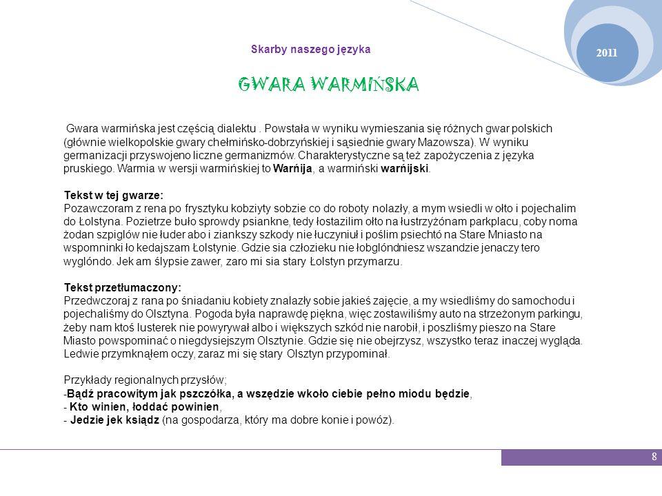 GWARA WARMIŃSKA Skarby naszego języka 2011