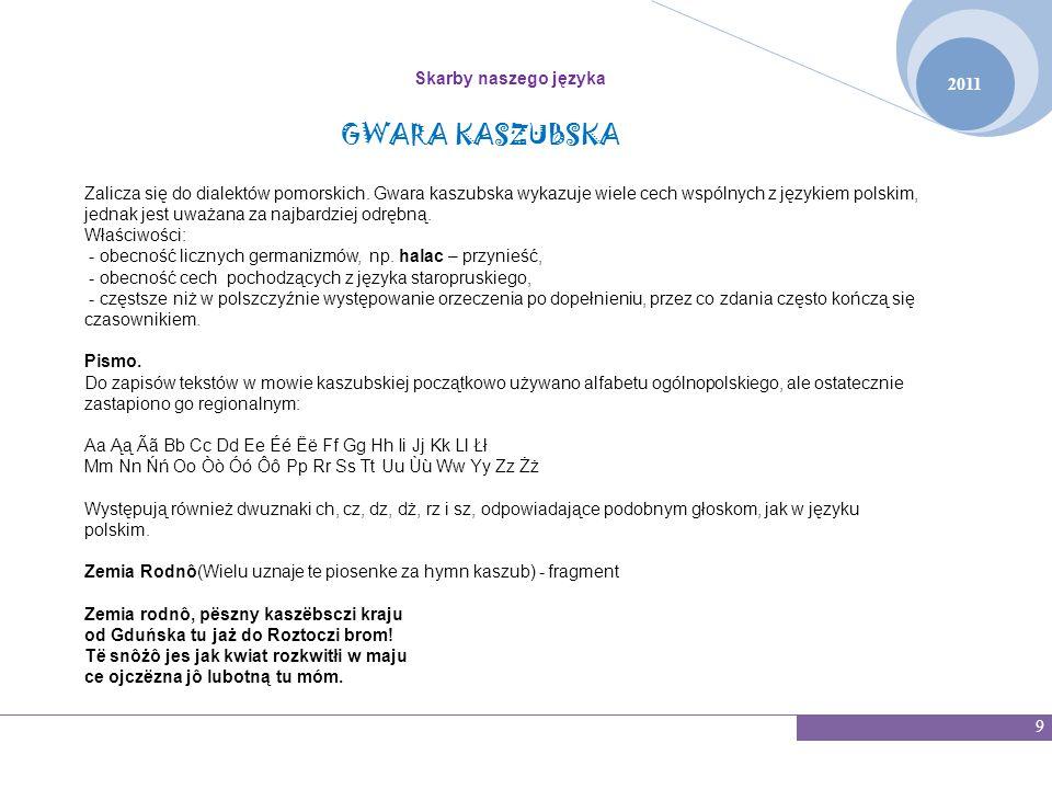 GWARA KASZUBSKA Skarby naszego języka 2011