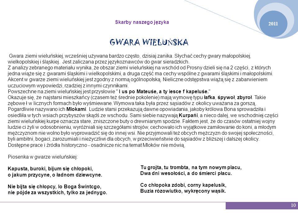 GWARA WIELUŃSKA Skarby naszego języka 2011