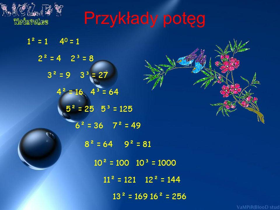 Przykłady potęg 2² = 4 2³ = 8 3² = 9 3³ = 27 4² = 16 4³ = 64