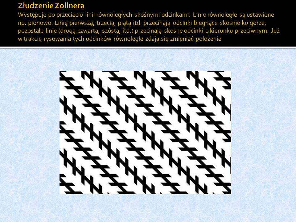Złudzenie Zollnera Występuje po przecięciu linii równoległych skośnymi odcinkami.