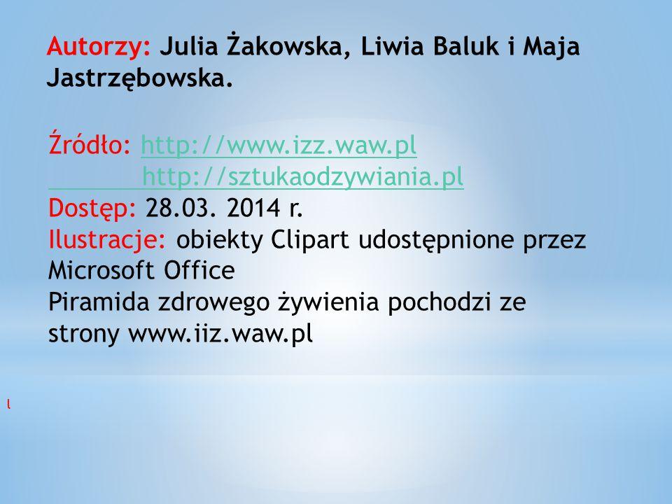 Autorzy: Julia Żakowska, Liwia Baluk i Maja Jastrzębowska.
