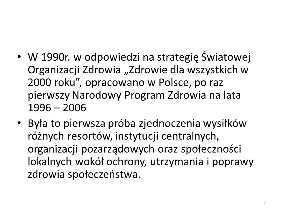 """W 1990r. w odpowiedzi na strategię Światowej Organizacji Zdrowia """"Zdrowie dla wszystkich w 2000 roku , opracowano w Polsce, po raz pierwszy Narodowy Program Zdrowia na lata 1996 – 2006"""