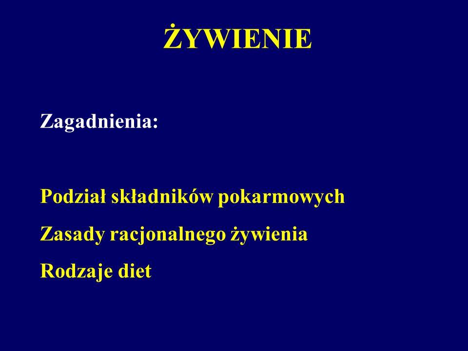 ŻYWIENIE Zagadnienia: Podział składników pokarmowych