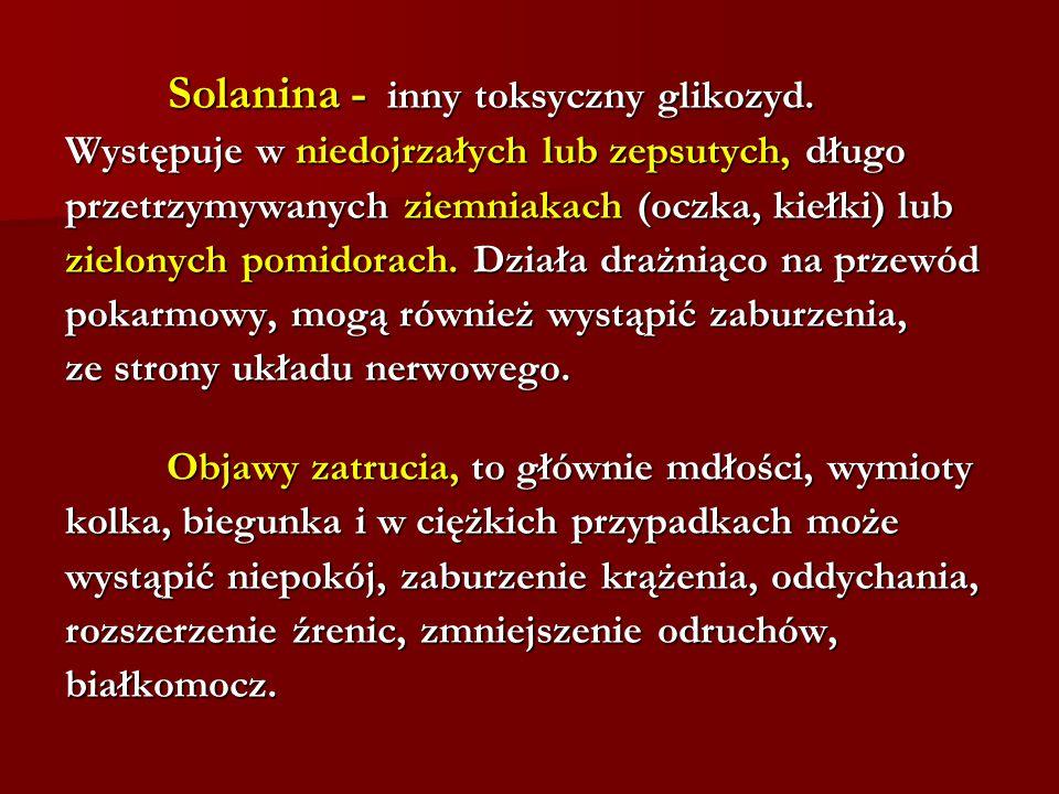 Solanina - inny toksyczny glikozyd.