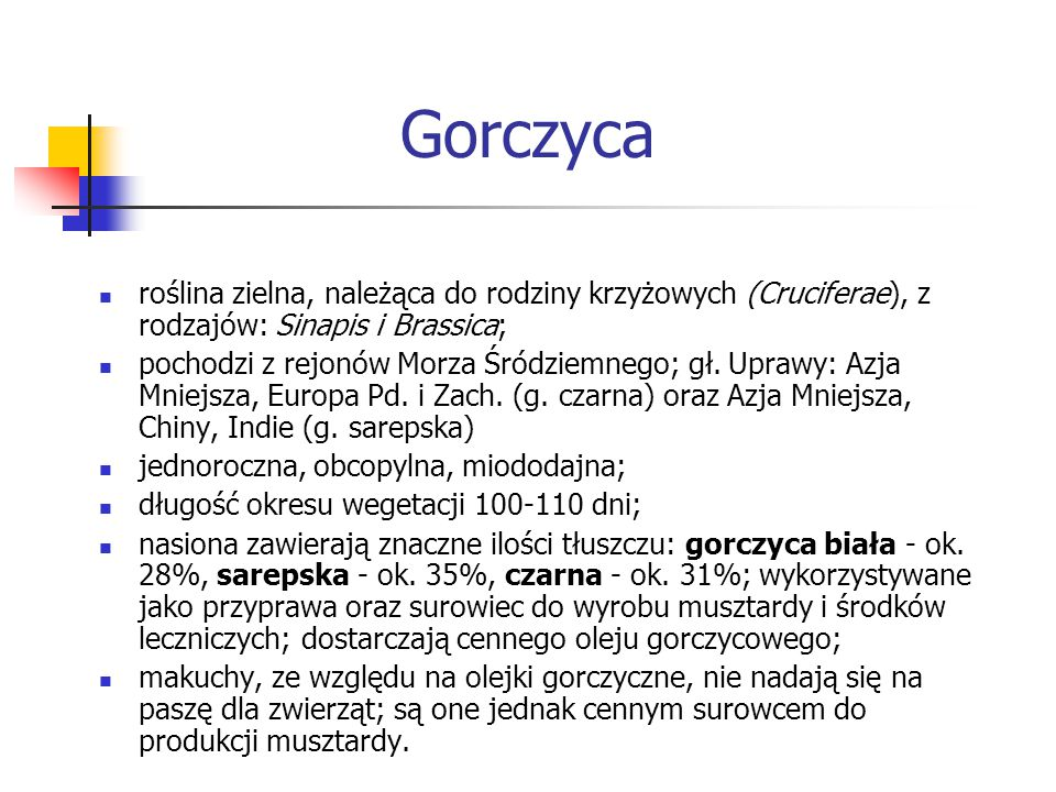 Gorczyca roślina zielna, należąca do rodziny krzyżowych (Cruciferae), z rodzajów: Sinapis i Brassica;