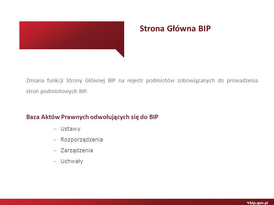 Strona Główna BIP Baza Aktów Prawnych odwołujących się do BIP