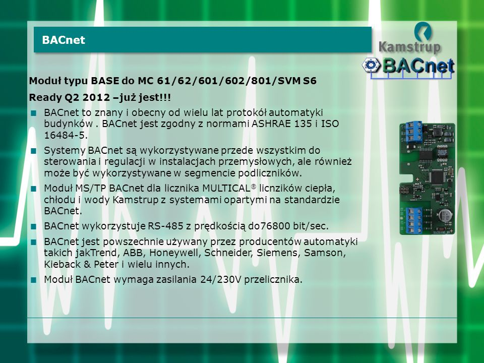 BACnet Moduł typu BASE do MC 61/62/601/602/801/SVM S6