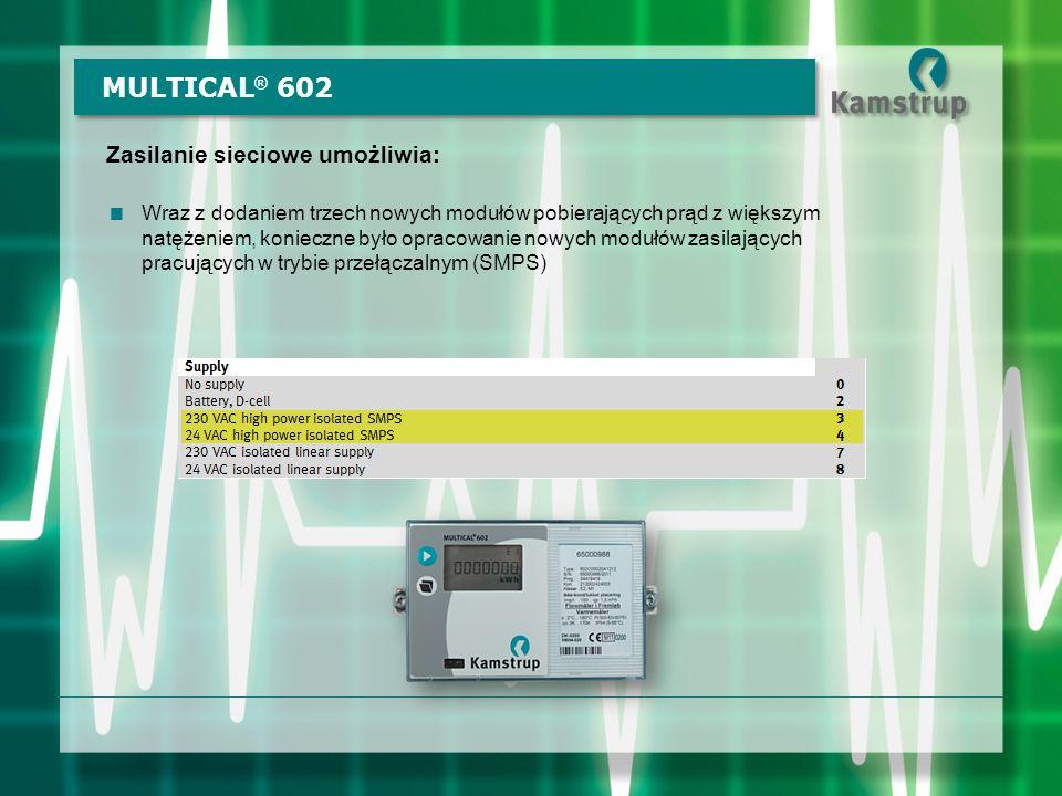 MULTICAL® 602 Zasilanie sieciowe umożliwia:
