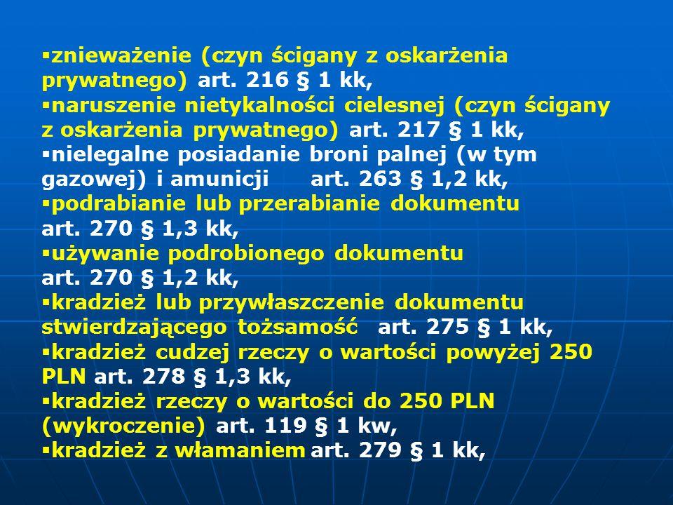 znieważenie (czyn ścigany z oskarżenia prywatnego) art. 216 § 1 kk,