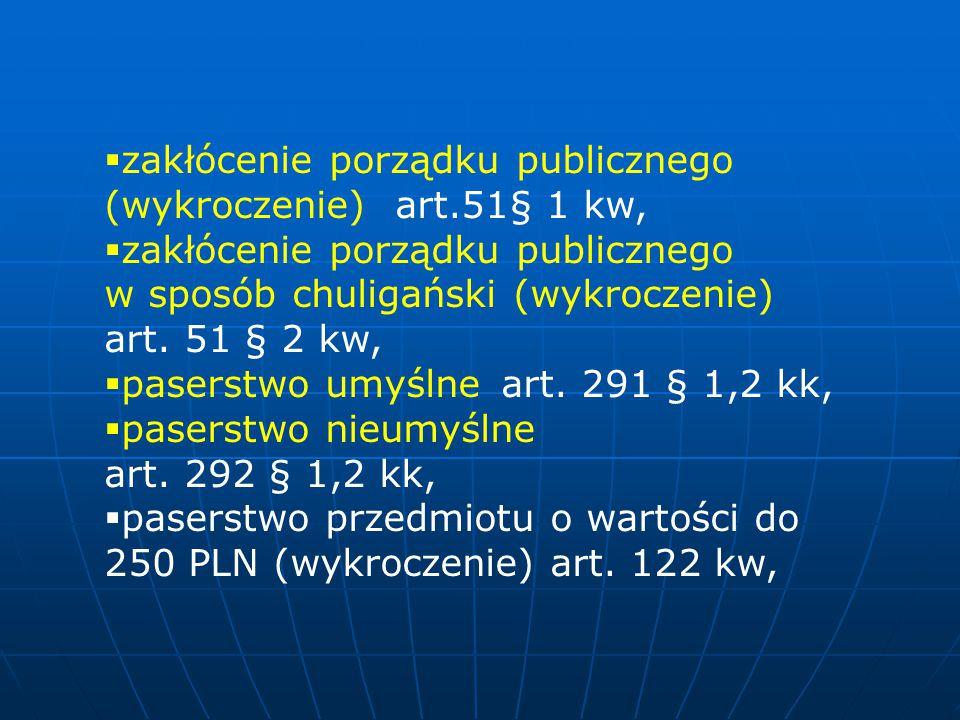 zakłócenie porządku publicznego (wykroczenie) art.51§ 1 kw,