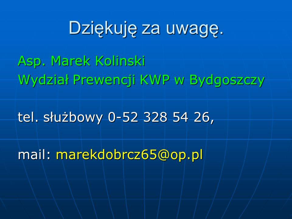 Dziękuję za uwagę. Asp. Marek Kolinski
