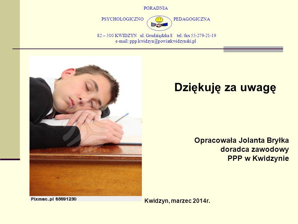Dziękuję za uwagę Opracowała Jolanta Bryłka doradca zawodowy
