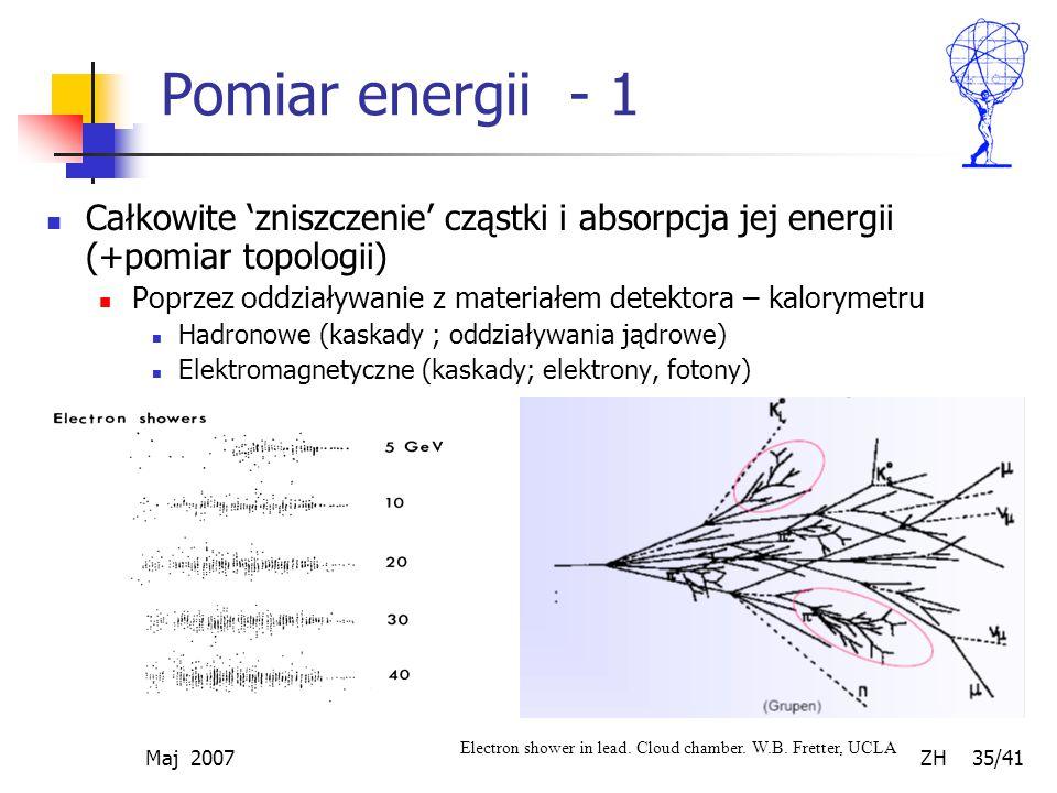 Pomiar energii - 1 Całkowite 'zniszczenie' cząstki i absorpcja jej energii (+pomiar topologii)
