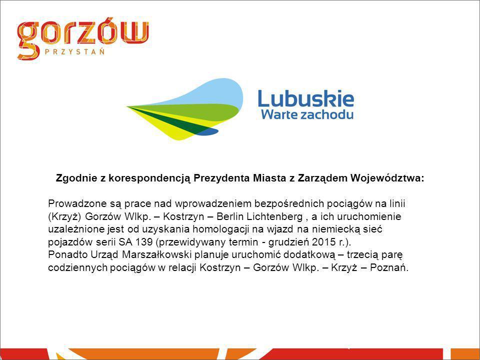 Zgodnie z korespondencją Prezydenta Miasta z Zarządem Województwa: