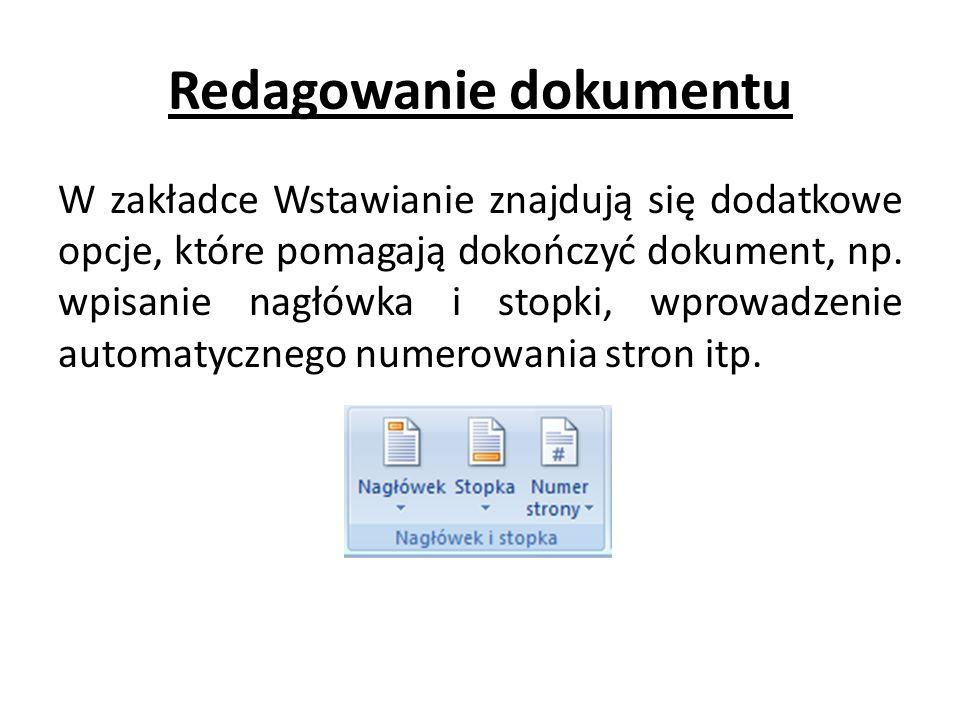 Redagowanie dokumentu
