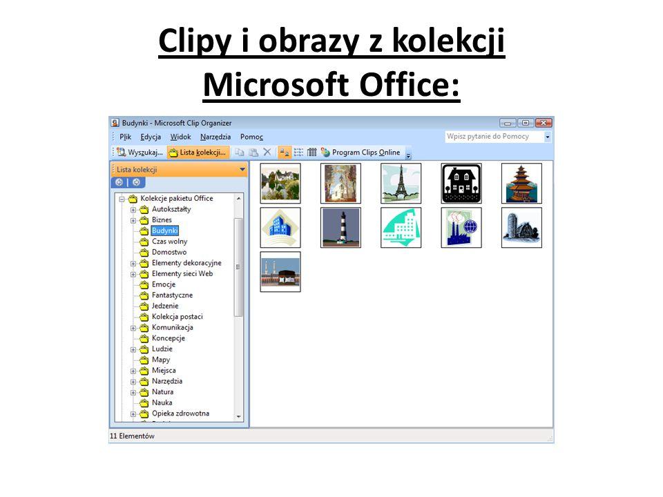 Clipy i obrazy z kolekcji Microsoft Office: