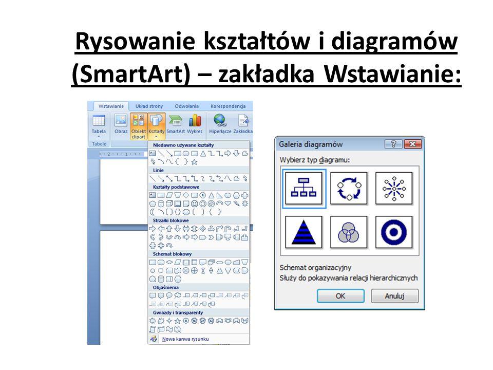 Rysowanie kształtów i diagramów (SmartArt) – zakładka Wstawianie: