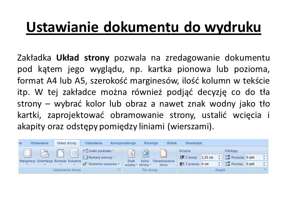 Ustawianie dokumentu do wydruku