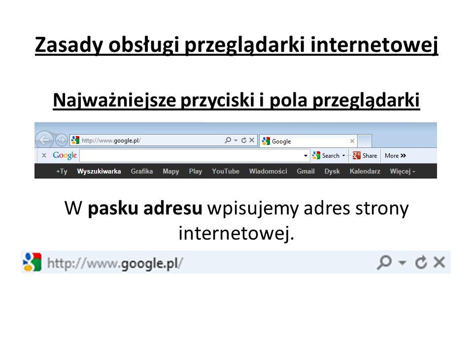 Zasady obsługi przeglądarki internetowej