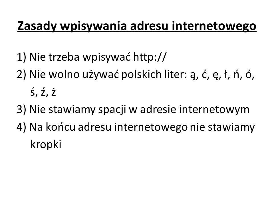 Zasady wpisywania adresu internetowego