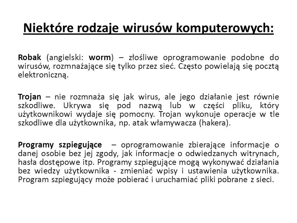 Niektóre rodzaje wirusów komputerowych:
