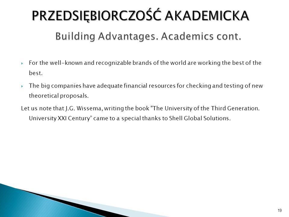 Building Advantages. Academics cont.