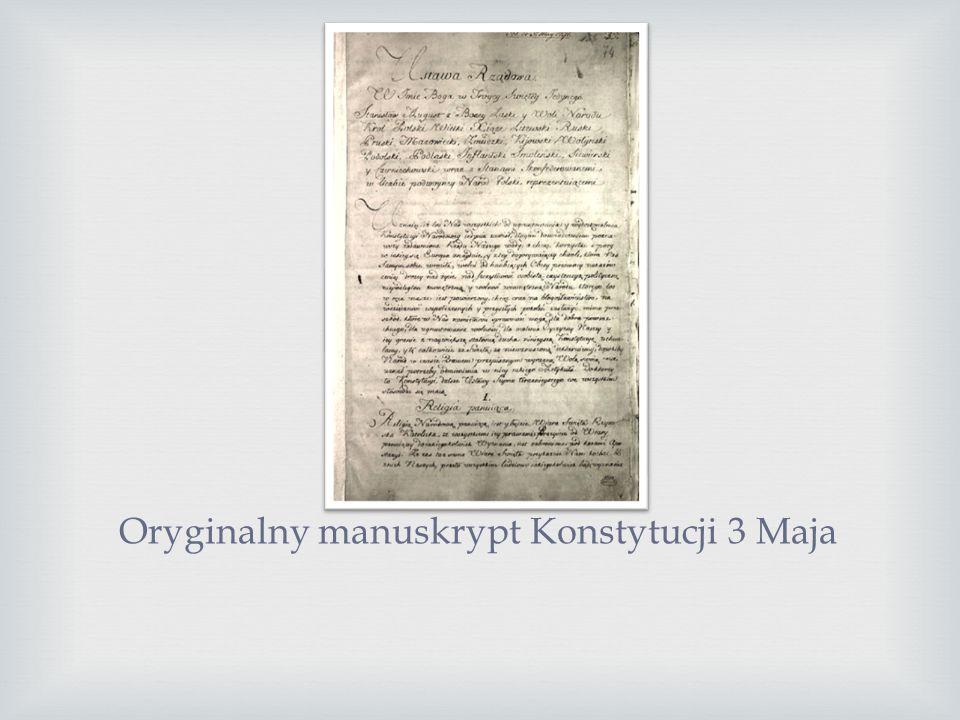 Oryginalny manuskrypt Konstytucji 3 Maja