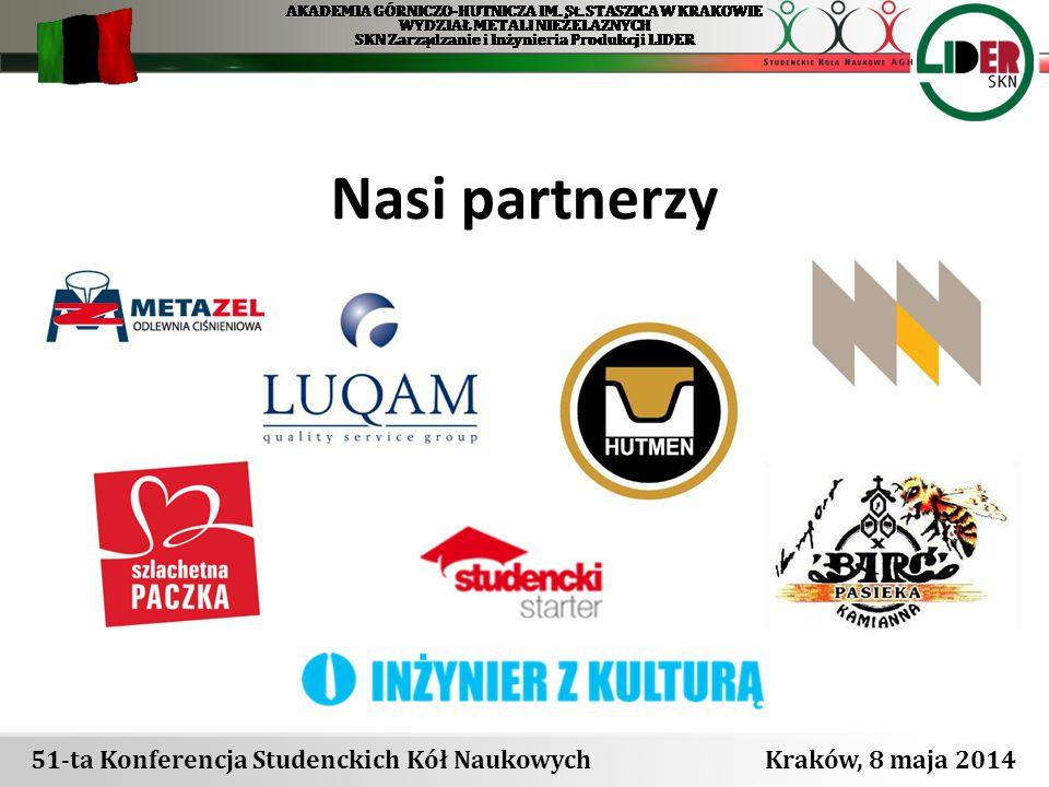 Nasi partnerzy 51-ta Konferencja Studenckich Kół Naukowych Kraków, 8 maja 2014
