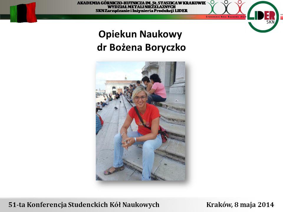 Opiekun Naukowy dr Bożena Boryczko