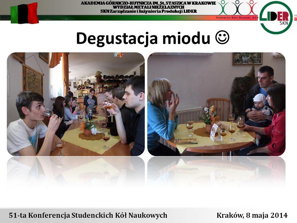 Degustacja miodu  51-ta Konferencja Studenckich Kół Naukowych Kraków, 8 maja 2014