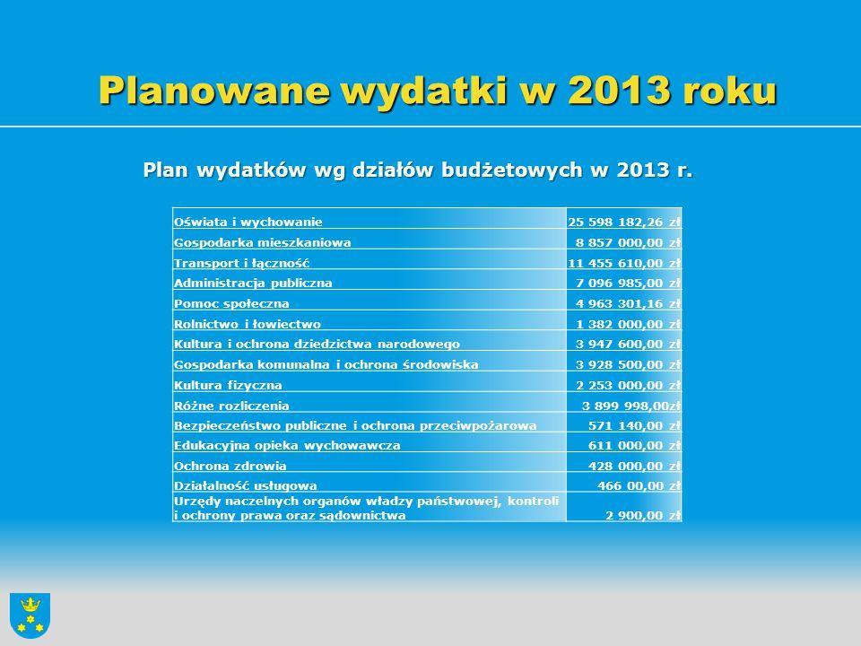 Planowane wydatki w 2013 roku
