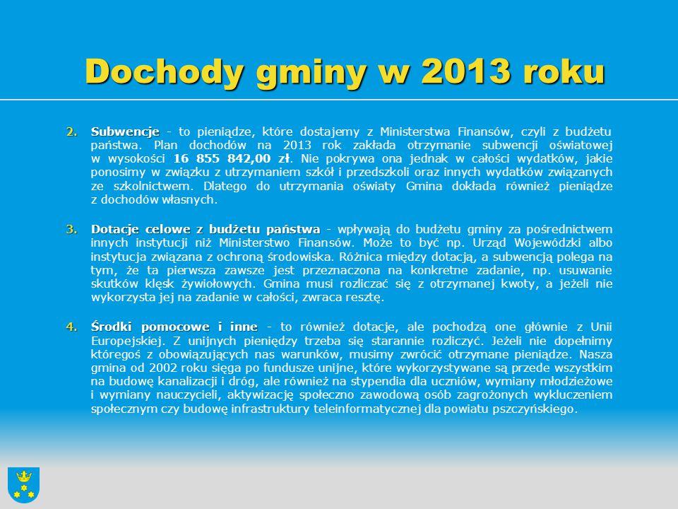 Dochody gminy w 2013 roku