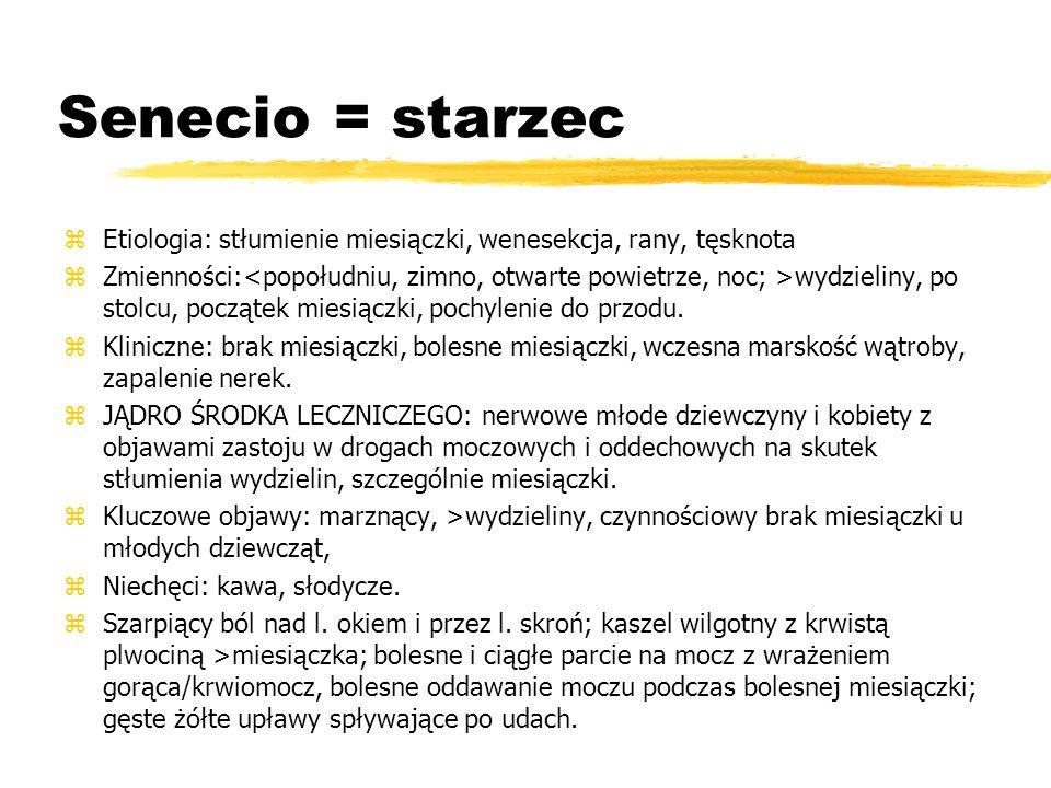 Senecio = starzec Etiologia: stłumienie miesiączki, wenesekcja, rany, tęsknota.